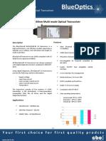 BlueOptics BO32J852S3D 10GBASE-SR X2 Transceiver 850nm 300 Meter Multimode SC-Duplex 10 Gigabit