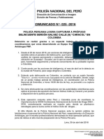 Comunicado PNP N° 25 -2016