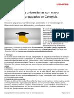 20 Carreras Universitarias Mayor Demanda Mejor Pagadas Colombia