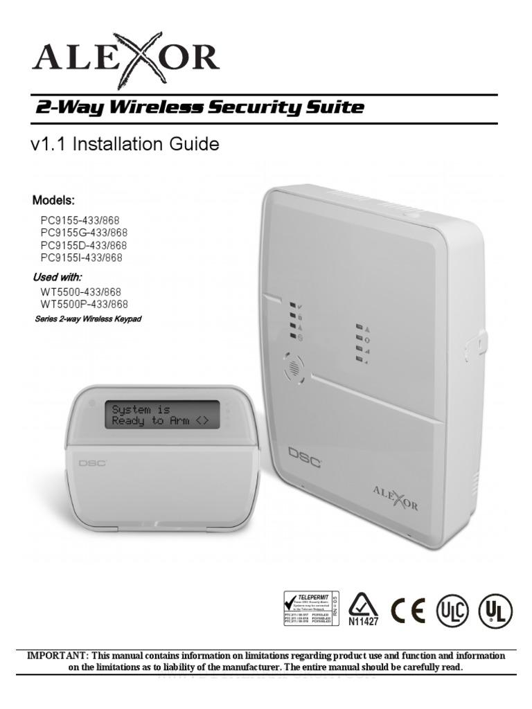 Alexor Pc9155 V11 Manual Instalarepdf Electrical Wiring License Diagrams Typical Alarm System Connecting Rj31 Phone