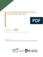 La mortalidad infantil de la Ciudad en el período 2013/2015