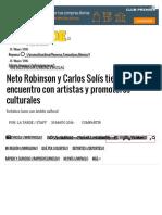 05-30-2016 Neto Robinson y Carlos Solís Tienen Encuentro Con Artistas y Promotores Culturales
