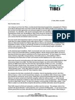 Free Tibet- Secretary Kerry Re Tibet Water Resources Ltd 5-17-16