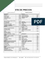 CAFETERIA Lista de Productos y Precios