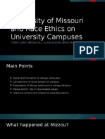 university of missouri and race ethics on university