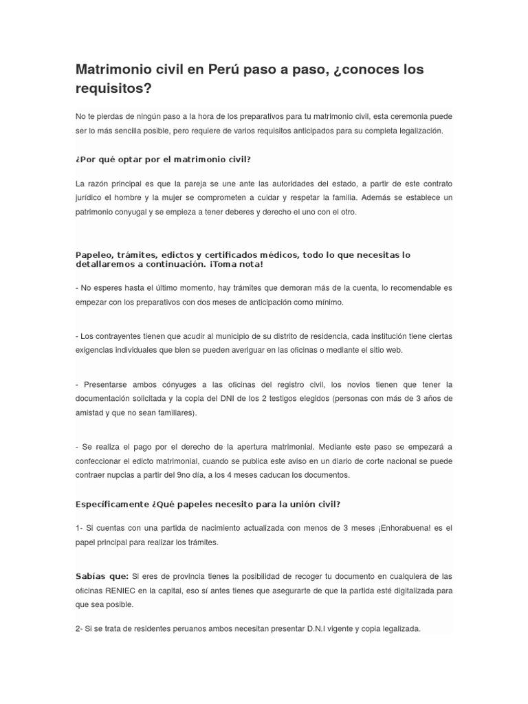 Matrimonio Civil en Perú