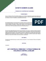 Ley contra el Femicidio de Guatemala DECRETO DEL CONGRESO 22-2008.doc