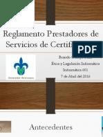 Reglamento de Prestadores de Servicios de Certificación