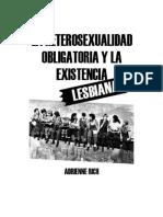 Adrienne Rich - La Heterosexualidad Obligatoria y La Existencia Lesbiana