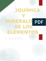 Geoquímica y Mineralogía de Los Elementos