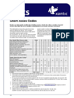 Xantic Short Access Codes