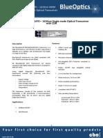 BlueOptics BO54JXX640D 10GBASE-CWDM CDR SFP+ Transceiver 1470nm - 1610nm 40KM Singlemode LC Duplex 10 Gigabit
