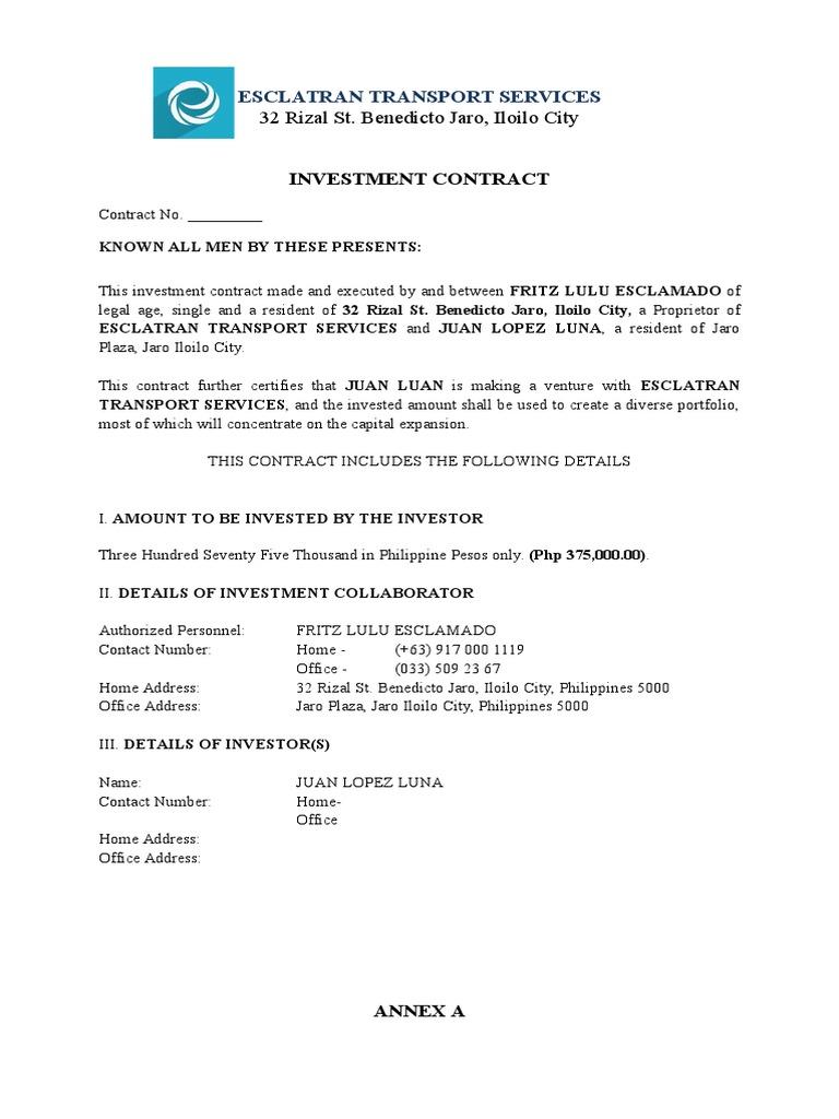 Sample investment contract investing investor platinumwayz