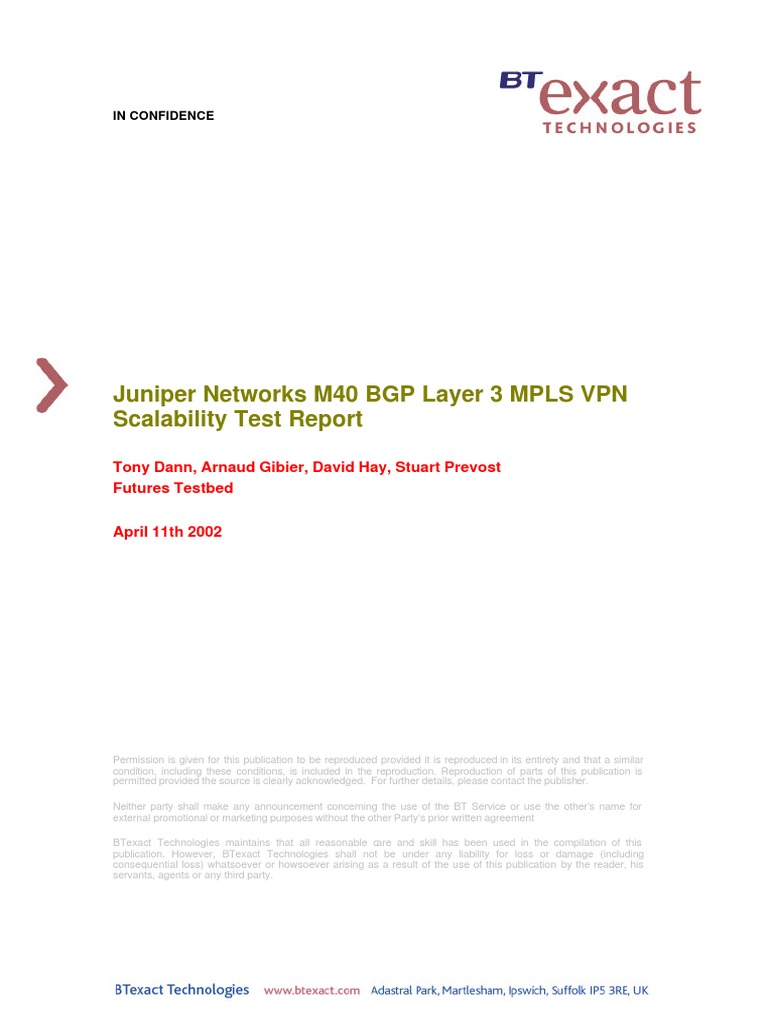 Juniper Networks M40 BGP Layer 3 MPLS VPN Scalability Test