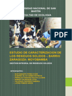Estudio de Caracterización de Los Residuos Sólidos