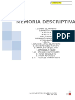 Memoria Descriptiva Chamis La Quebrada
