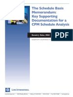 Long Intl Schedule Basis Memorandum-Key Support for a CPM Sched Analysis