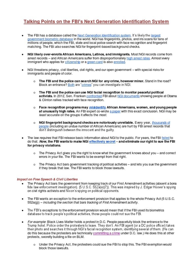 Talking Points on the FBI, Courtesy Georgetown Law Center on Privacy