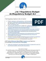 A1P Regulatory Budget Act