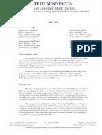 Minnesota Gov. Mark Dayton Special Session Letter