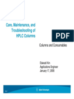 Care Maintenance and HPLC Column Troubleshooting
