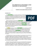 Indicadores de Calidad de La Universidad a Nivel Internacional y El Caso Peruano1