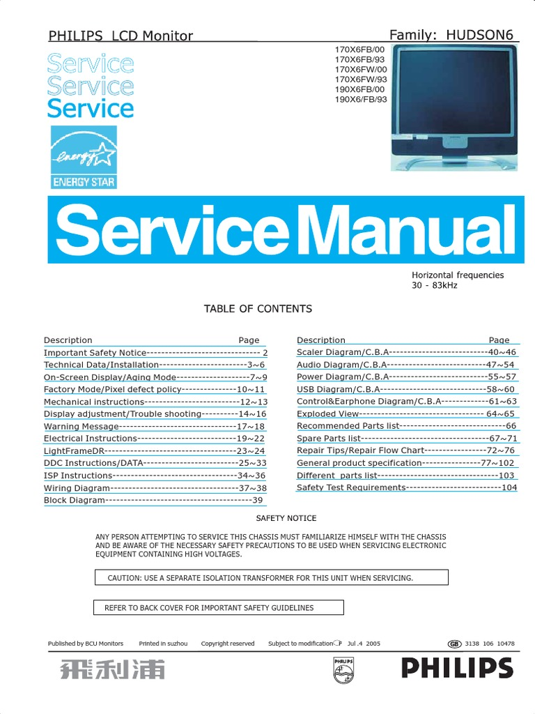 Philips 190x6 170x6 Service Manual Pixel Computer Monitor Power Control Wiring Diagram