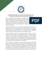Declaración Pública Colegio de Periodistas