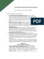 Contrato de Constituição Da Verve Industria de Confecção Ltda