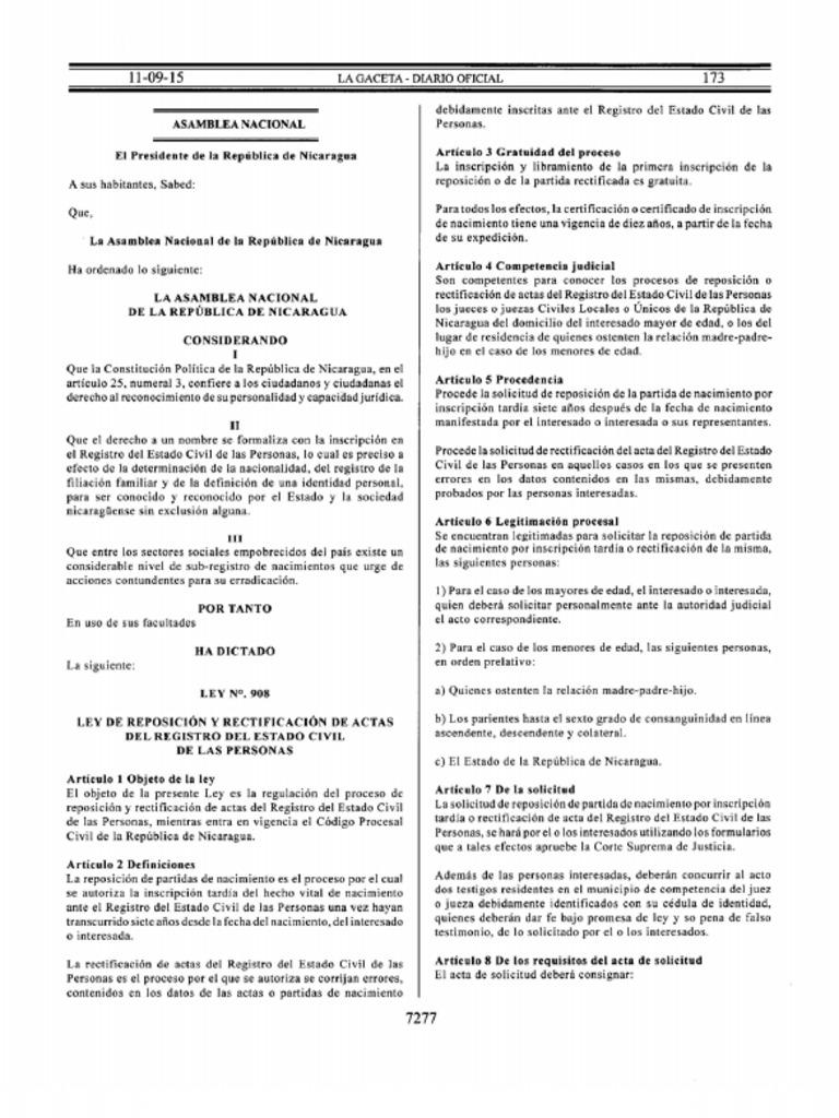 Ley No. 908, Ley de Reposicion y Rectificacion de Actas Del Registro ...