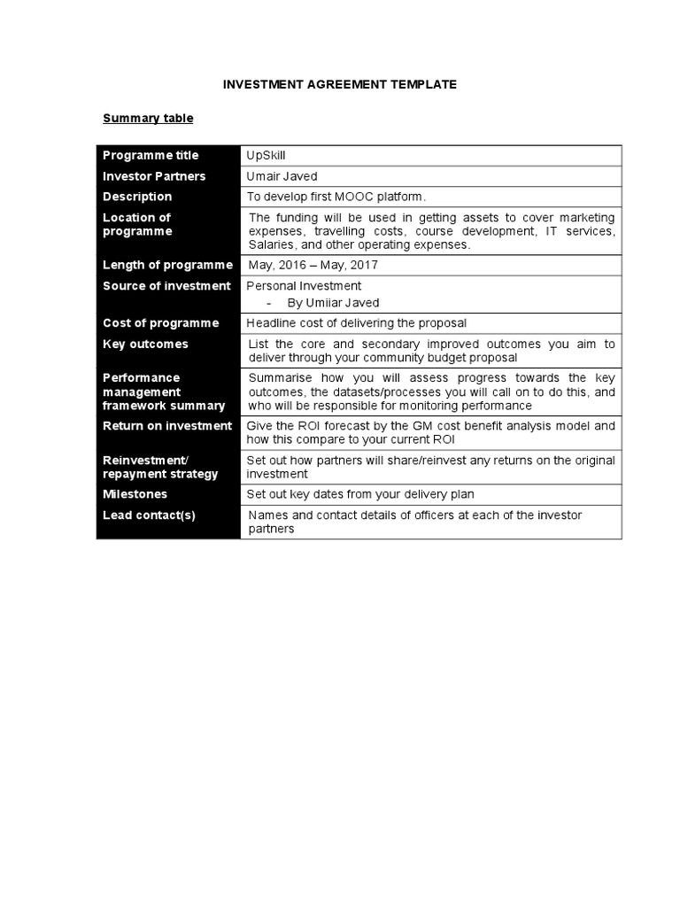 Investment Agreement Doc Shareholders Agreement Template Sample – Investors Agreement Template