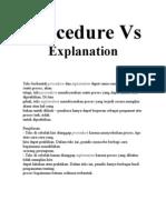 Procedure vs Explanation