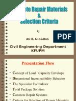 Concrete Repair Materials and Selection Criteria