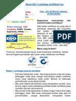 Badan Sertifikasi ISO DENGAN ACCREDITASI ISO / telp 0813801 63185