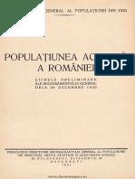 1930 Recensamant Cifre Preliminare Populatia