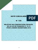 Note Circulaire 726 Relative a La Loi de Finance 2016