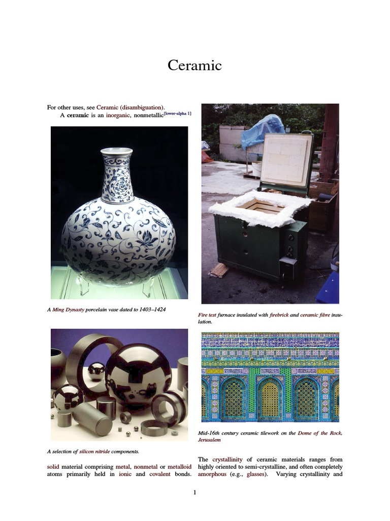 Ceramic Introduction | Ceramics | Manmade Materials