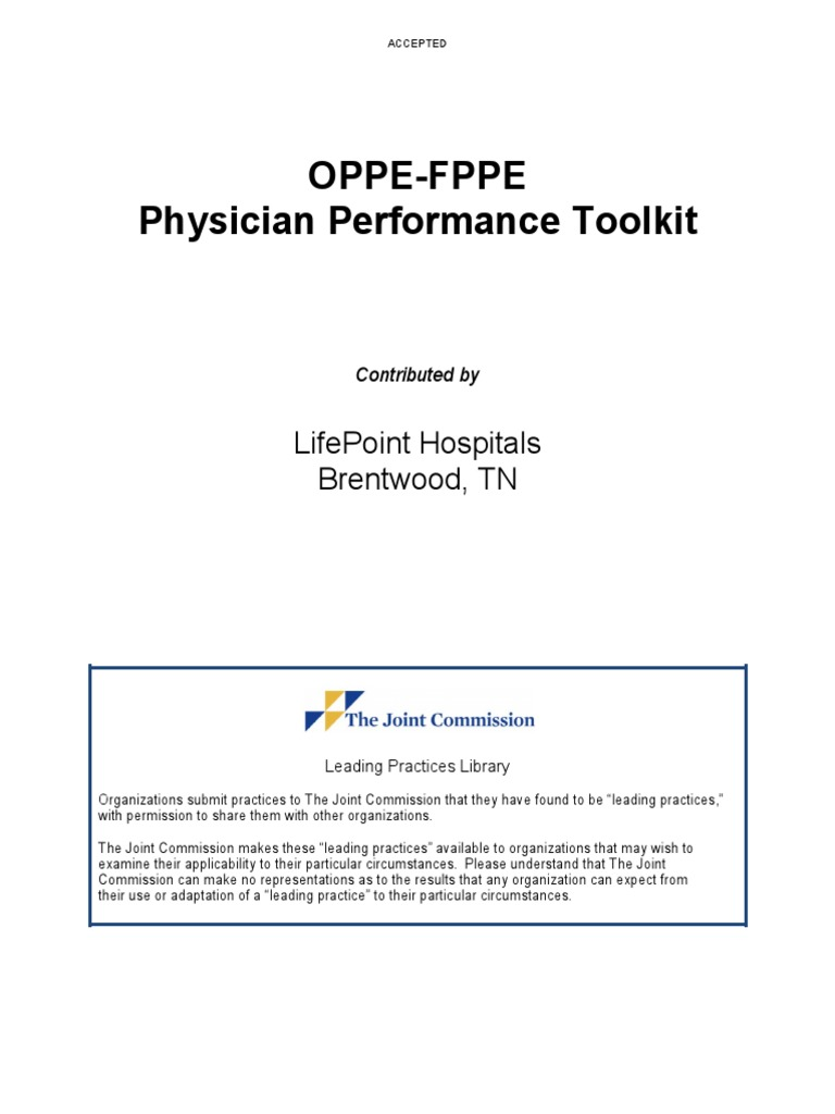 oppe fppe toolkit doc competence human resources physician