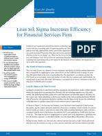 Lean Six Sigma Increases Efficiency Financial