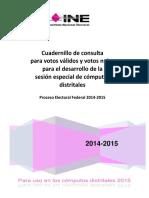 Cuadernillo de Consulta Para Votos Válidos y Votos Nulos Emitido Por El INE 2015