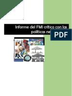 Informe del FMI crítico con las  políticas neoliberales