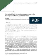 Secant Stiffness for No-Tension Masonry Walls Having a Non-Linear Constitutive Law (Mura, I. 2005)