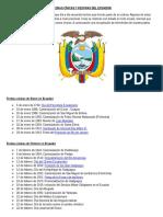 Fechas Cívicas y Festivas Del Ecuador