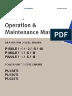 Operation and Maintenance Manual Motores P158LE P180LE P222LE Daewoo Doosan