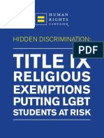 Title IX Exemptions Report