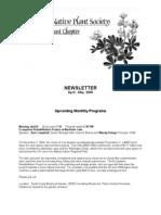April - May 2009 Newsletter ~ South Coast, California Native Plant Society