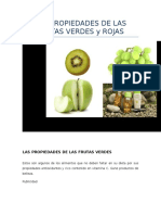 Las Propiedades de Las Frutas Verdes y Rojas