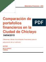 Comparación de Portafolios Financieros Chiclayo