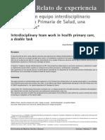 El Trabajo en Equipo Interdisciplinario en APS Una Tarea Posible