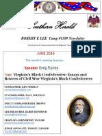 Robert E Lee Camp 1589 newsletter Southern Herald June